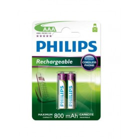 PHILIPS - Philips Rechargable Battery AAA HR03 800mAh - Size AAA - BS451-CB