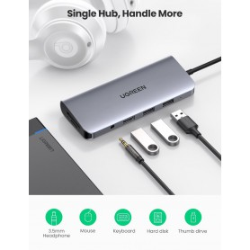 UGREEN - 10in1 USB-C PD C Type USB C to 4K HDMI USB-C VGA RJ45 USB 3.0 3.5mm Audio Port SD TF Card - USB adapters - UG-80133