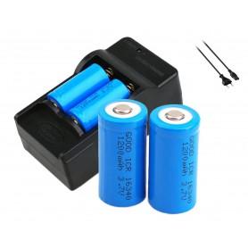 Oem - Dual CR123 / RCR123 16340 Li-ion battery charger + 4 pcs Li-ion CR123A 3.7V 1200mAh rechargeable batteries - Battery ch...