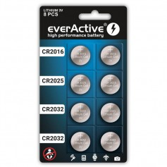 8x everActive POWER-PACK CR2032 / CR2025 / CR2016 3V Lithium battery