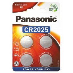 4-Pack Panasonic CR2025 3V 165mAh Lithium button cell battery