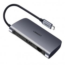 UGREEN - 6in1 USB-C PD C Type USB C to 4K HDMI USB-C PD RJ45 2x USB 3.0 - USB adapters - UG-50771