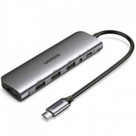 UGREEN - UGREEN USB-C 6 in 1 Hub (HDMI + 3 * USB 3.0 + 3.5mm AUX + USB-C PD Port - USB adapters - UG-80132