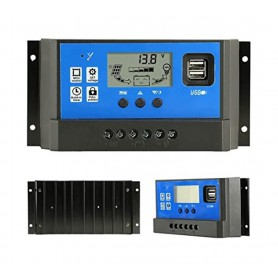 Oem, 40A DC 12V - 24V PWM Solar charge controller with LCD and 5V USB, Solar controller, AL130-40A