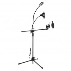 Multifunction Microphone Stand With LED Light, Phone holder and POP-Filter