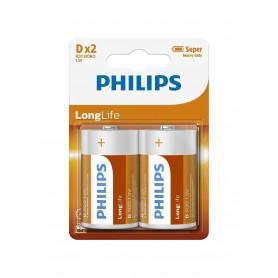 PHILIPS, Philips LongLife D/LR20 Zinc, Size C D 4.5V XL, BS500-D20