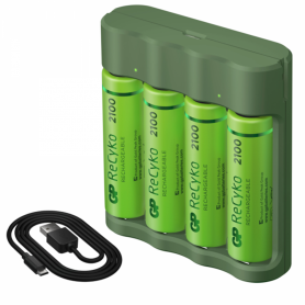 GP - GP Recyko + PB420 AA / AAA battery charger + 4x AA 2100mAh batteries - Battery chargers - BS503-B420