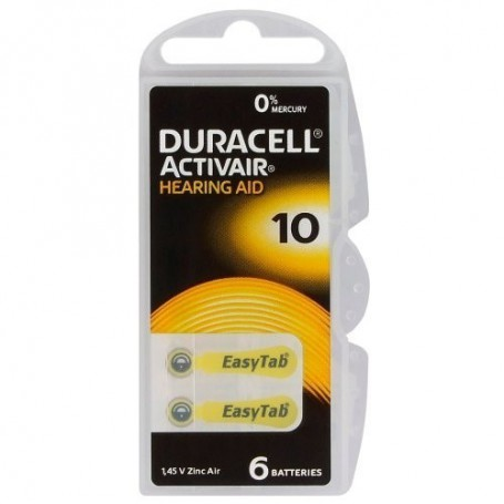 Duracell, Duracell ActivAir 10MF Hg 0% 1.45V 100mAhHearing Aid Battery, Hearing batteries, BS263-CB
