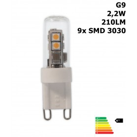 Calex, LED G9 240V 2,2W 210lm 3000K Glass tube Warm White CA028, G9 LED, CA028, EtronixCenter.com