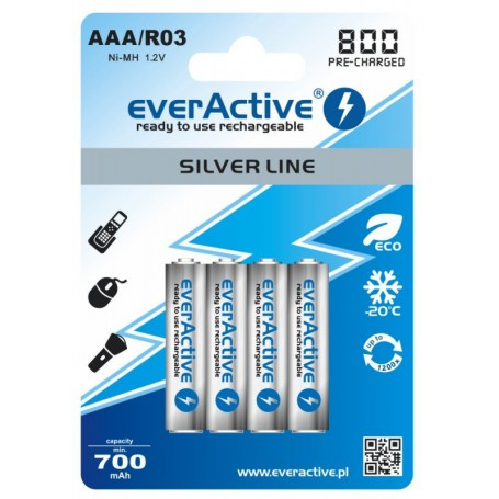 EverActive - AAA 800mAh Rechargeables everActive Silver Line - Size AAA - BL153-CB