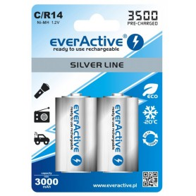 EverActive - everActive R14 C-Cell 3500mAh 1.2V NiMh Silver Line rechargeable battery - Size C D and XL - BL154-CB www.NedRo.us