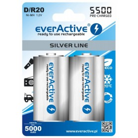 R20 D 5500mAh everActive Rechargeables Silver Line