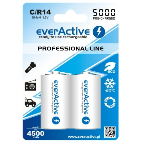 EverActive - R14 C 5000mAh Rechargeables everActive Professional Line - Size C D and XL - BL157-CB