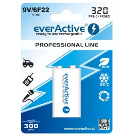 EverActive, 9V 6F22 320mAh Rechargeables everActive Professional, Other formats, BL159-CB