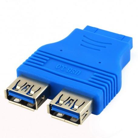 Oem - USB 3.0 Pinheader F 20pin to Dual USB 3.0 Female AL662 - USB adapters - AL662