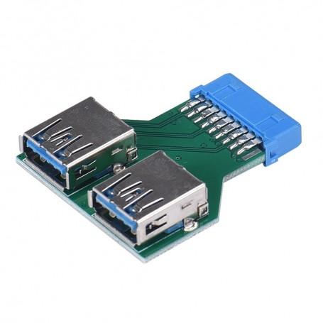 Oem - USB 3.0 Pinheader F 19pin to Dual USB 3.0 Female AL670 - USB adapters - AL670