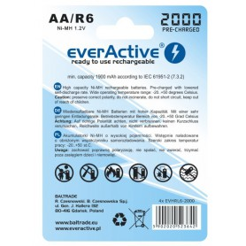 EverActive, everActive Ni-MH R6 AA 2000 mAh Silver Line, Size AA, BL170-CB, EtronixCenter.com