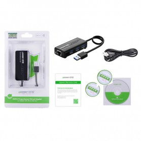 UGREEN, USB 3.0 Combo 10/100Mbps Ethernet 3 ports USB 3.0 Hub UG018, Ports and hubs, UG018, EtronixCenter.com