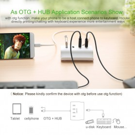 UGREEN - 4 Port Hub USB 2.0 Micro USB OTG with Phone Stand UG035 - Ports and hubs - UG035 www.NedRo.us