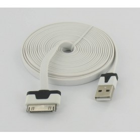 Oem - Ultra flat iPhone usb sync and changer 3m white YAI508 - iPhone data cables  - YAI508