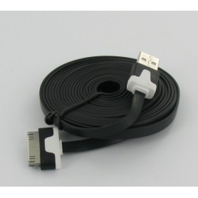 Oem - Ultra flat iPhone usb sync and changer 3m black YAI509 - iPhone data cables  - YAI509