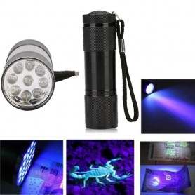 NedRo - Mini 9 LED Aluminium UV Ultra Violet Flashlight purple light - Flashlights - LFT30-CB www.NedRo.us