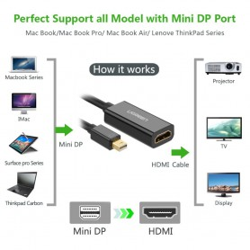 UGREEN, Mini Dislayport DP to HDMI female converter cable UG095, HDMI adapters, UG095, EtronixCenter.com