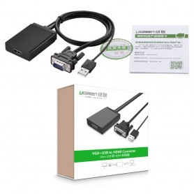 UGREEN, VGA+USB to HDMI Converter Adapter, HDMI adapters, UG101-CB, EtronixCenter.com
