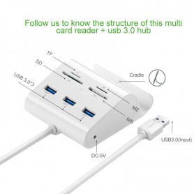 UGREEN - 3-Port USB 3.0 Hub with Card Reader and Cradle UG127 - Ports and hubs - UG127 www.NedRo.us