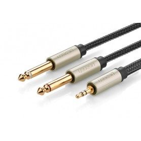 UGREEN - 3.5mm Audio Jack to 2 x 6.35mm Jack Y-Cable Splitter - Audio cables - UG206-CB