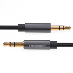 UGREEN, 3.5mm male to male Audio Jack cable Silver-Black, Audio cables, UG300-CB