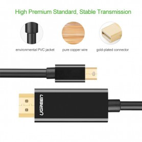 UGREEN - Mini Dislayport DP Male HDMI Male cable - Displayport and DVI cables - UG330-CB www.NedRo.us